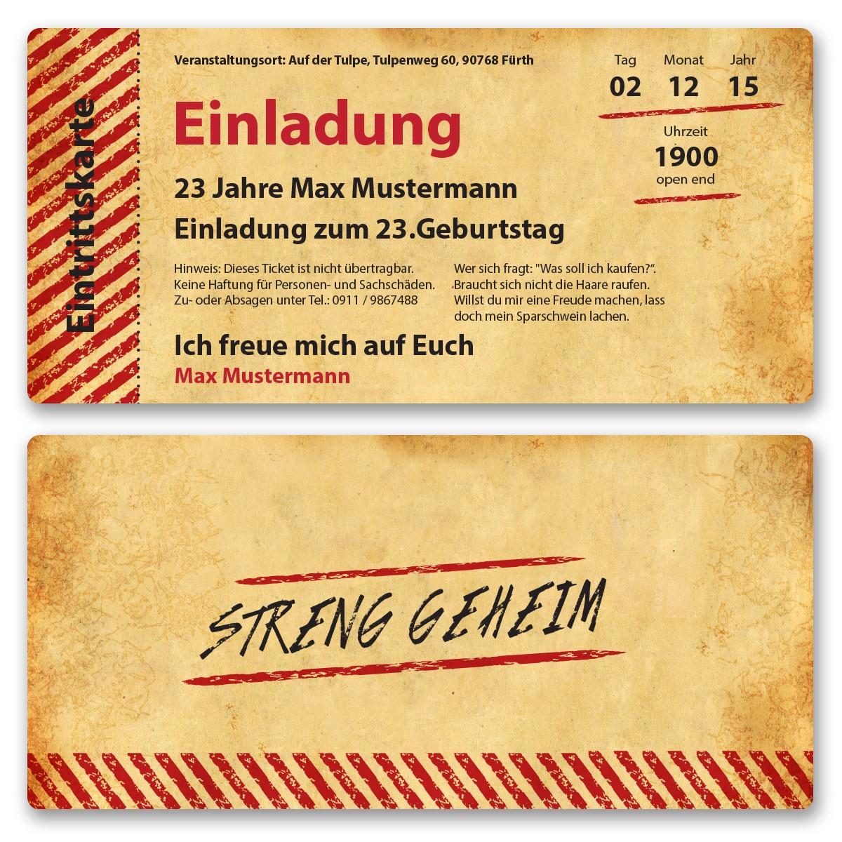 einladungskarten als eintrittskarte im vintagestyle ab 55 cent, Einladung