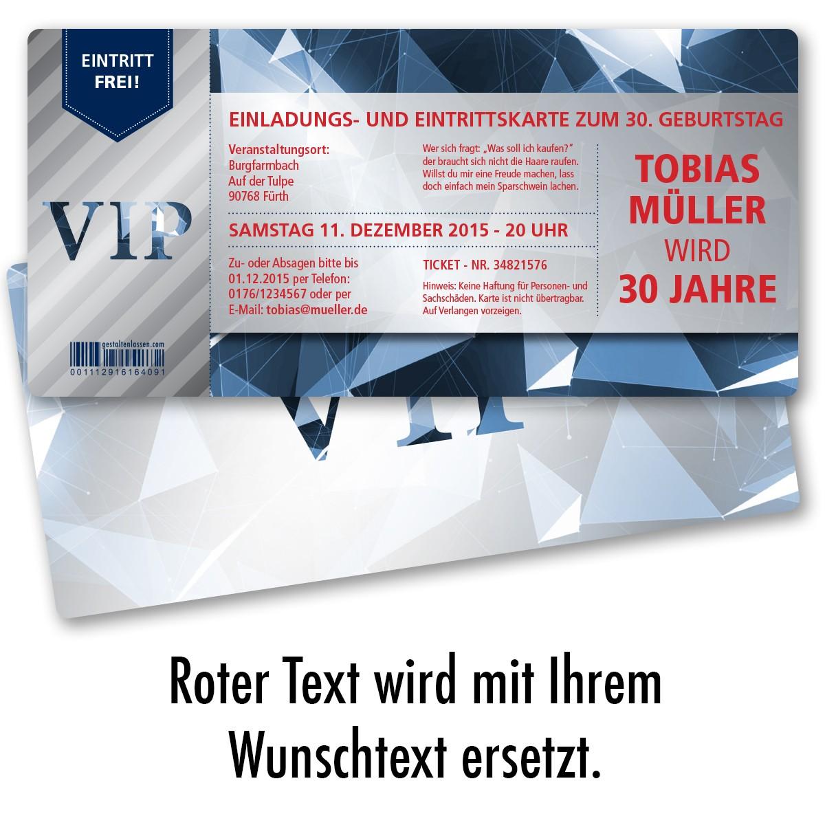 Einladungskarten als VIP Eintrittskarte Blau ab 43 Cent ... - Einladungskarten Vip Ticket