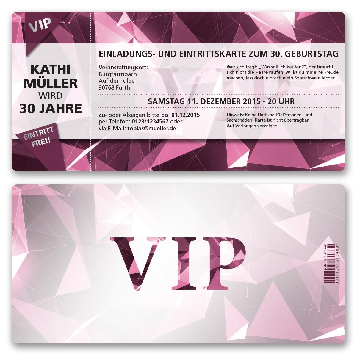 einladungskarten als vip eintrittskarte lila ab 55 cent, Einladungsentwurf