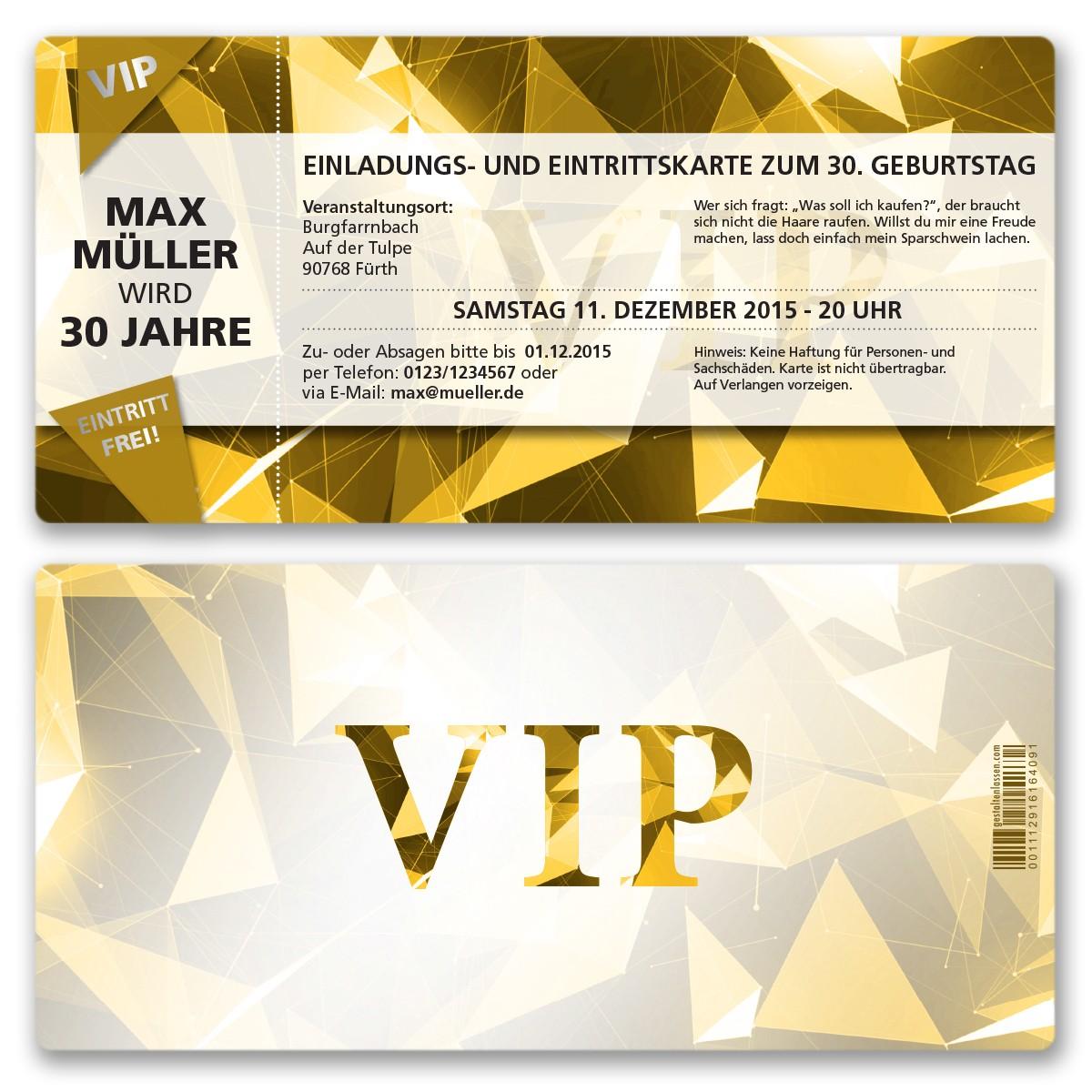 einladungskarten als vip eintrittskarte gold ab 55 cent, Einladung