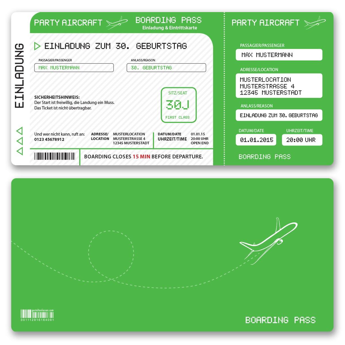 Einladungskarten als Flugticket Grün ab 55 Cent / Einladung ...