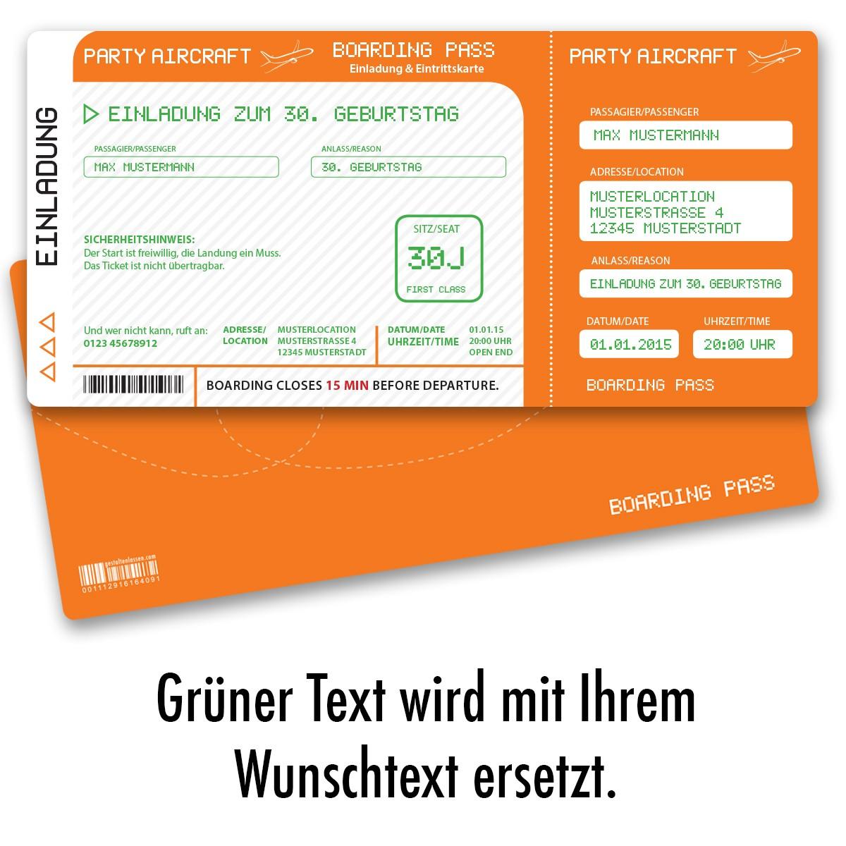 Einladungskarten als Flugticket Orange ab 55 Cent / Einladung ...