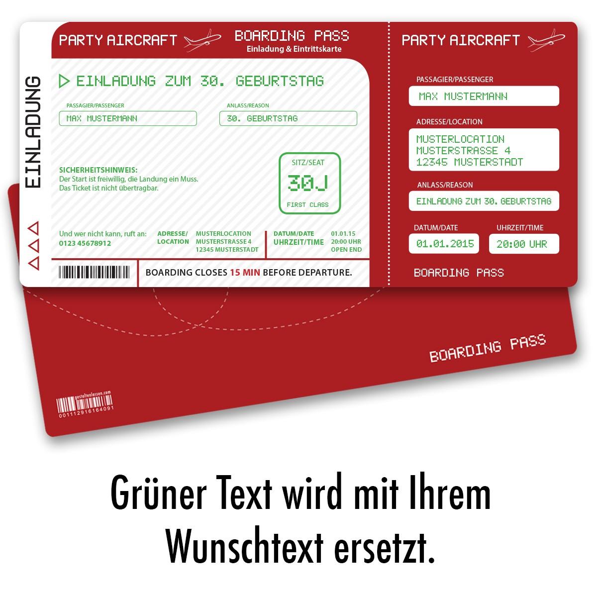 Einladungskarten als Flugticket Rot ab 55 Cent / Einladung ...