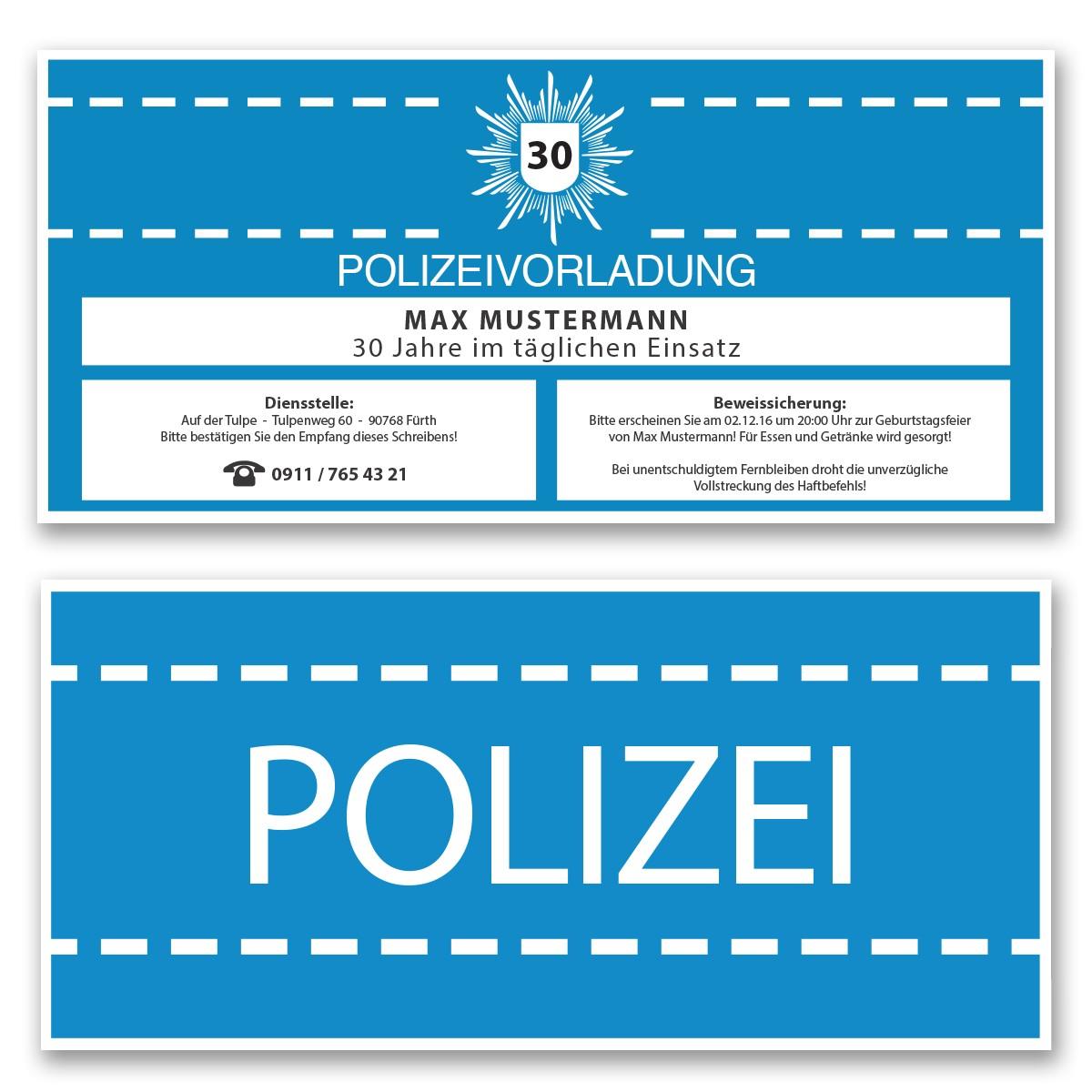 Einladungskarten Als Polizeivorladung   Blau