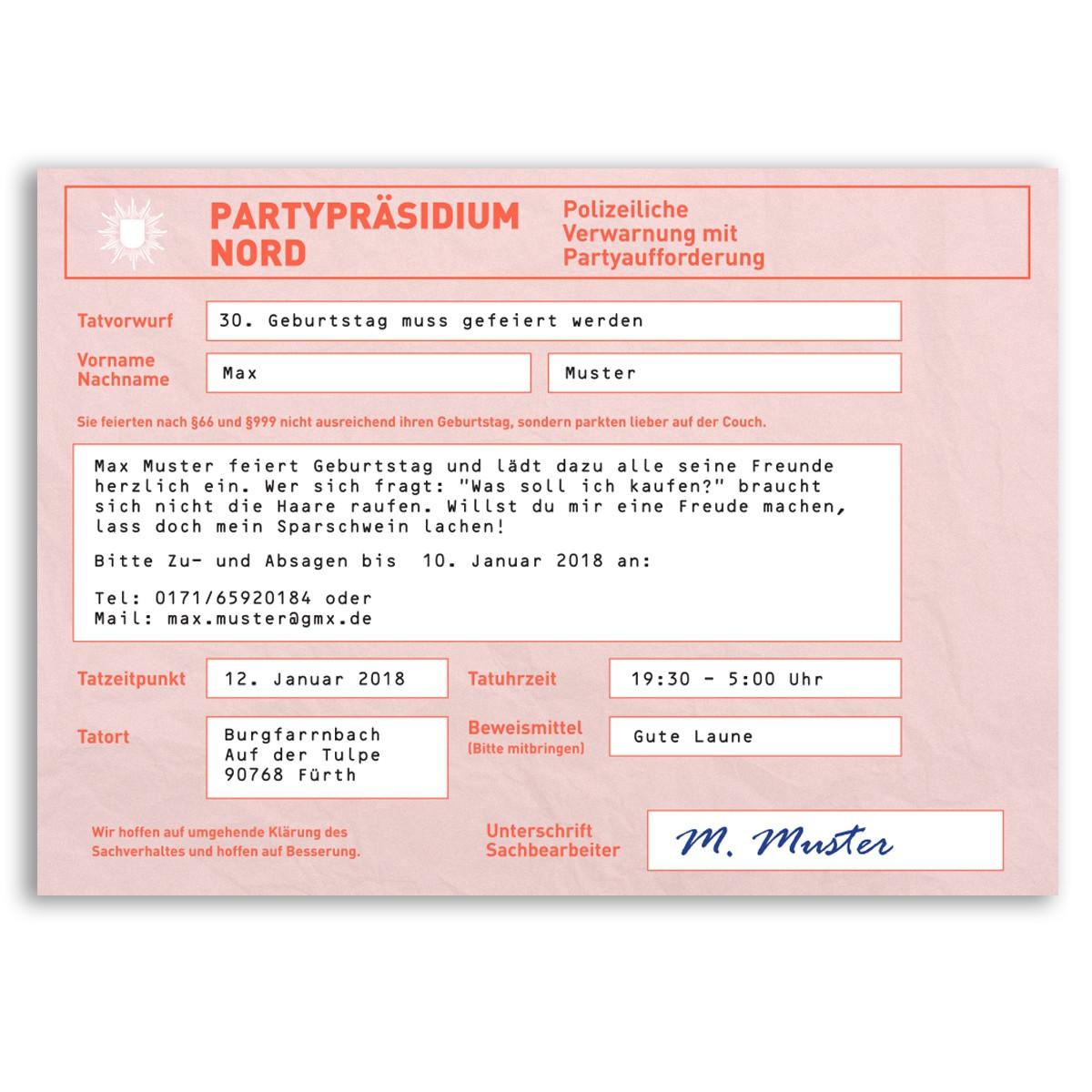 Einladungskarten Als Strafzettel