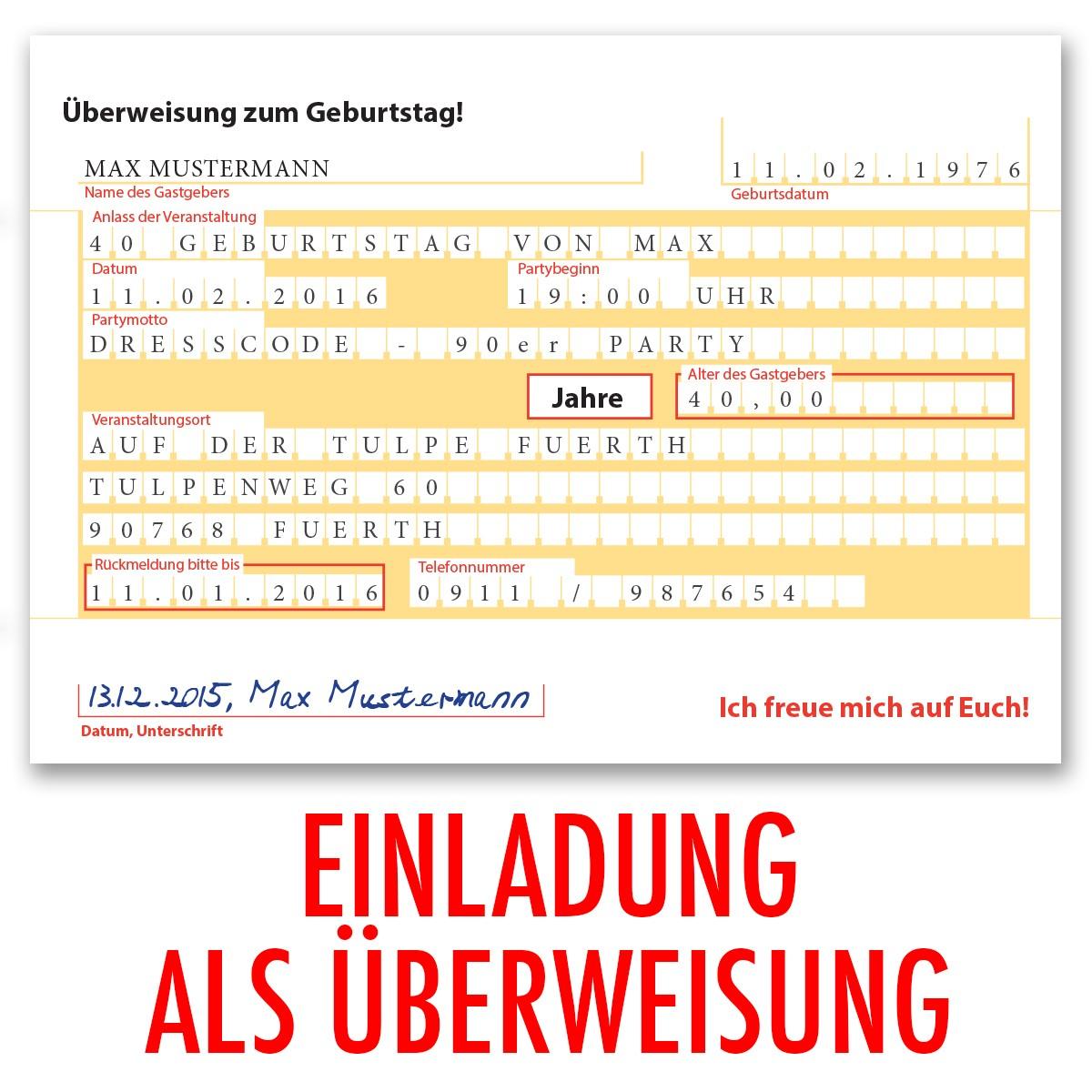 einladungskarten als berweisung - Uberweisung Muster