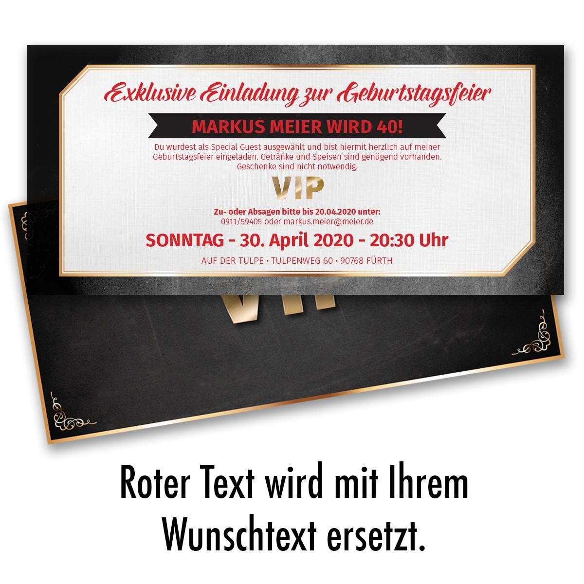 Einladungskarten Als VIP Ticket