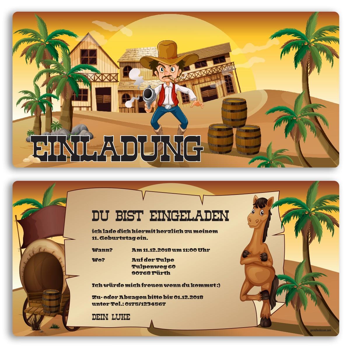 Einladungskarten   Cowboy
