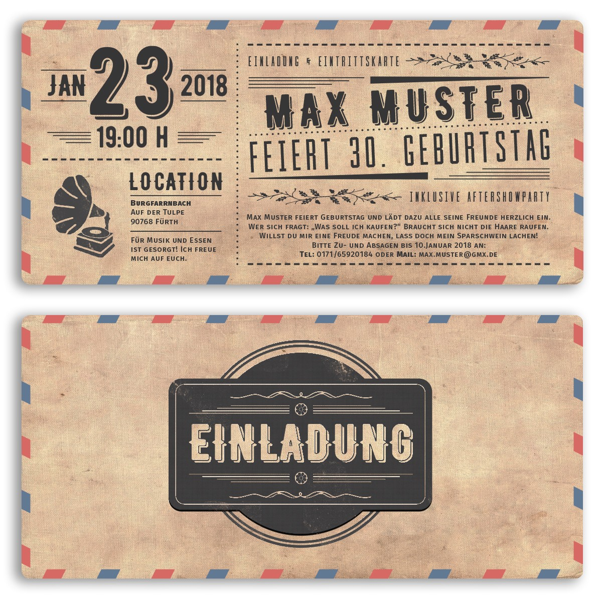 Einladungskarten   Vintage