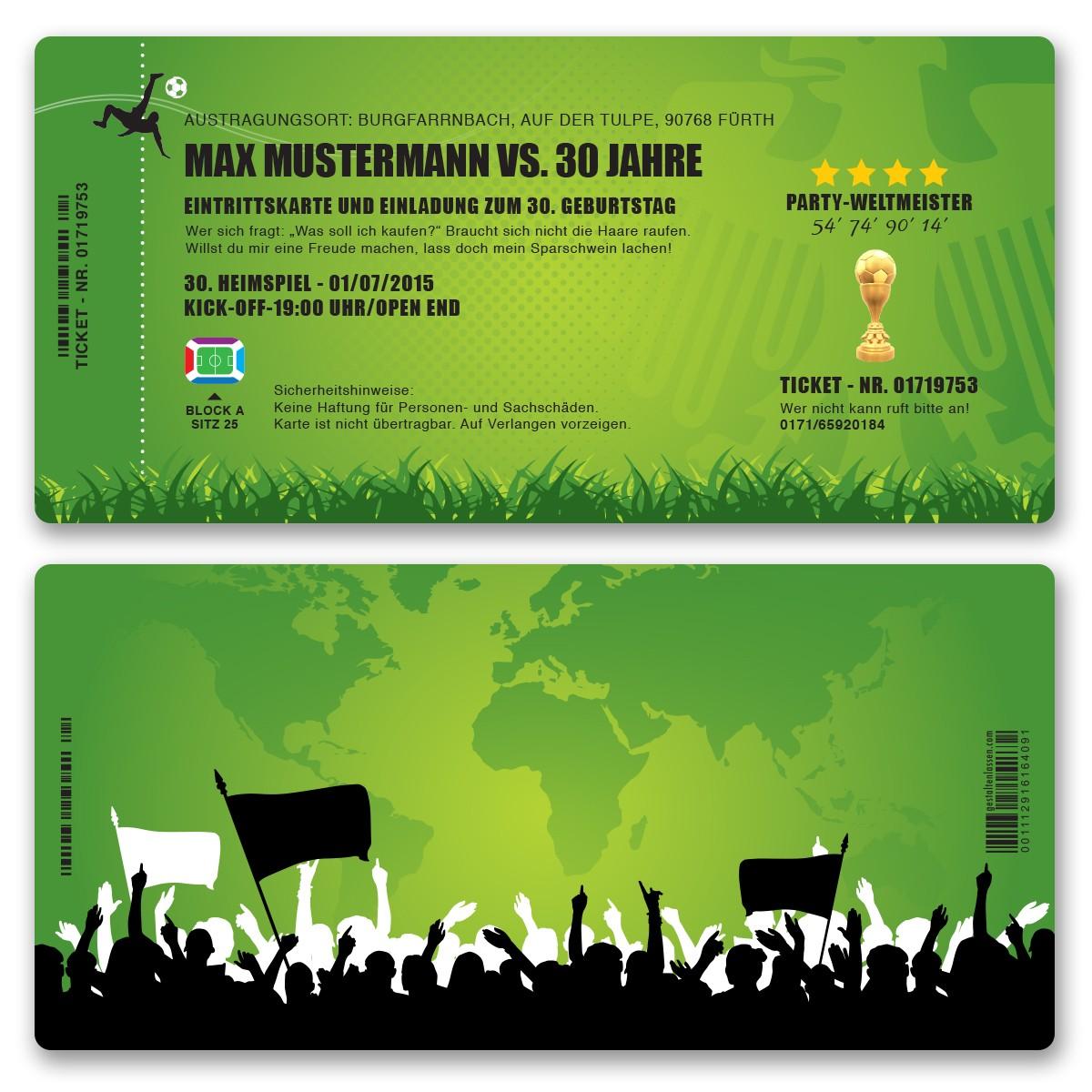Einladungskarten als Eintrittskarte Fussballticket bestellen
