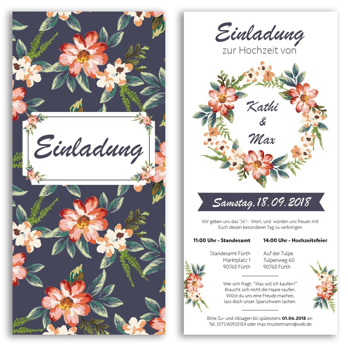 Hochzeitseinladungen mit Blumenmotiv ab 55 Cent Einladung