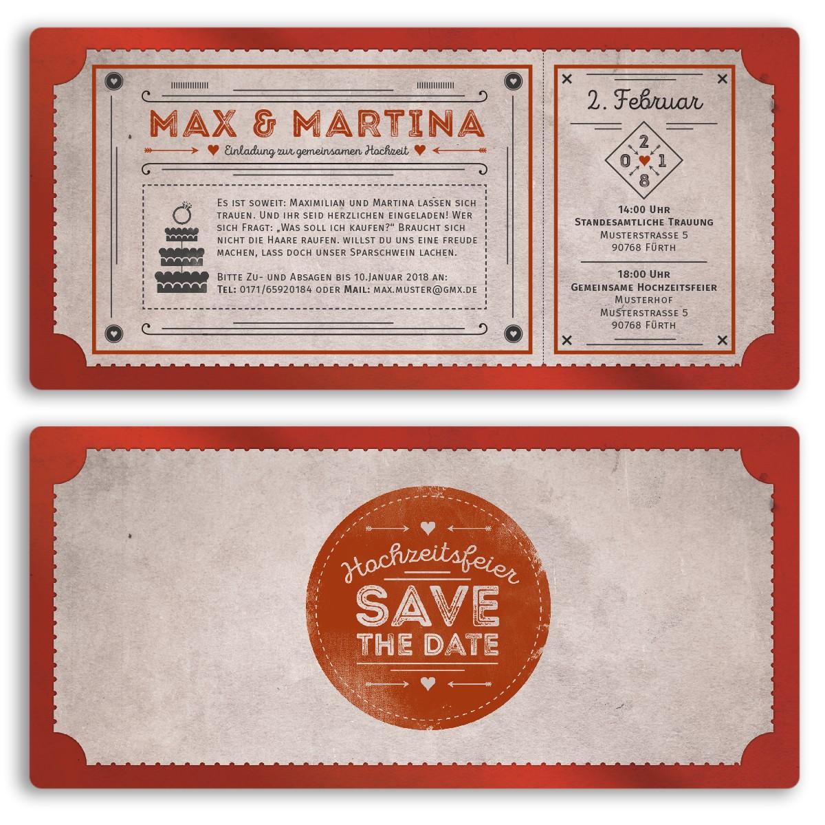 Hochzeitskarten Als Eintrittskarte Im Vintagestyle Ab 55 Cent
