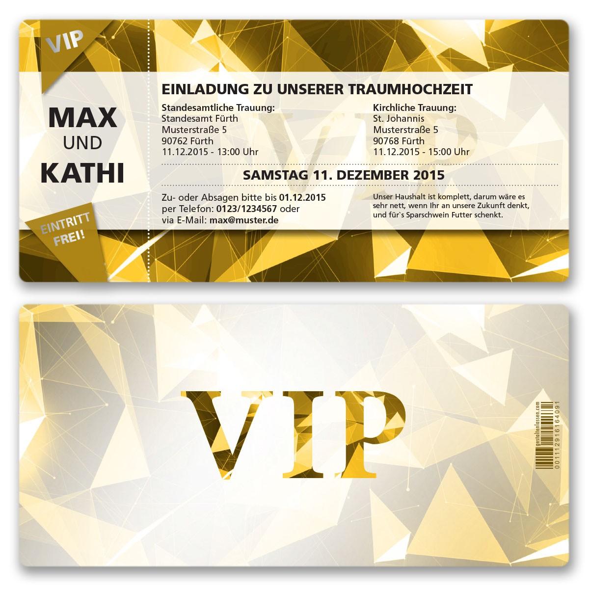 Hochzeitskarten Als Vip Eintrittskarte Gold Ab 55 Cent Einladung