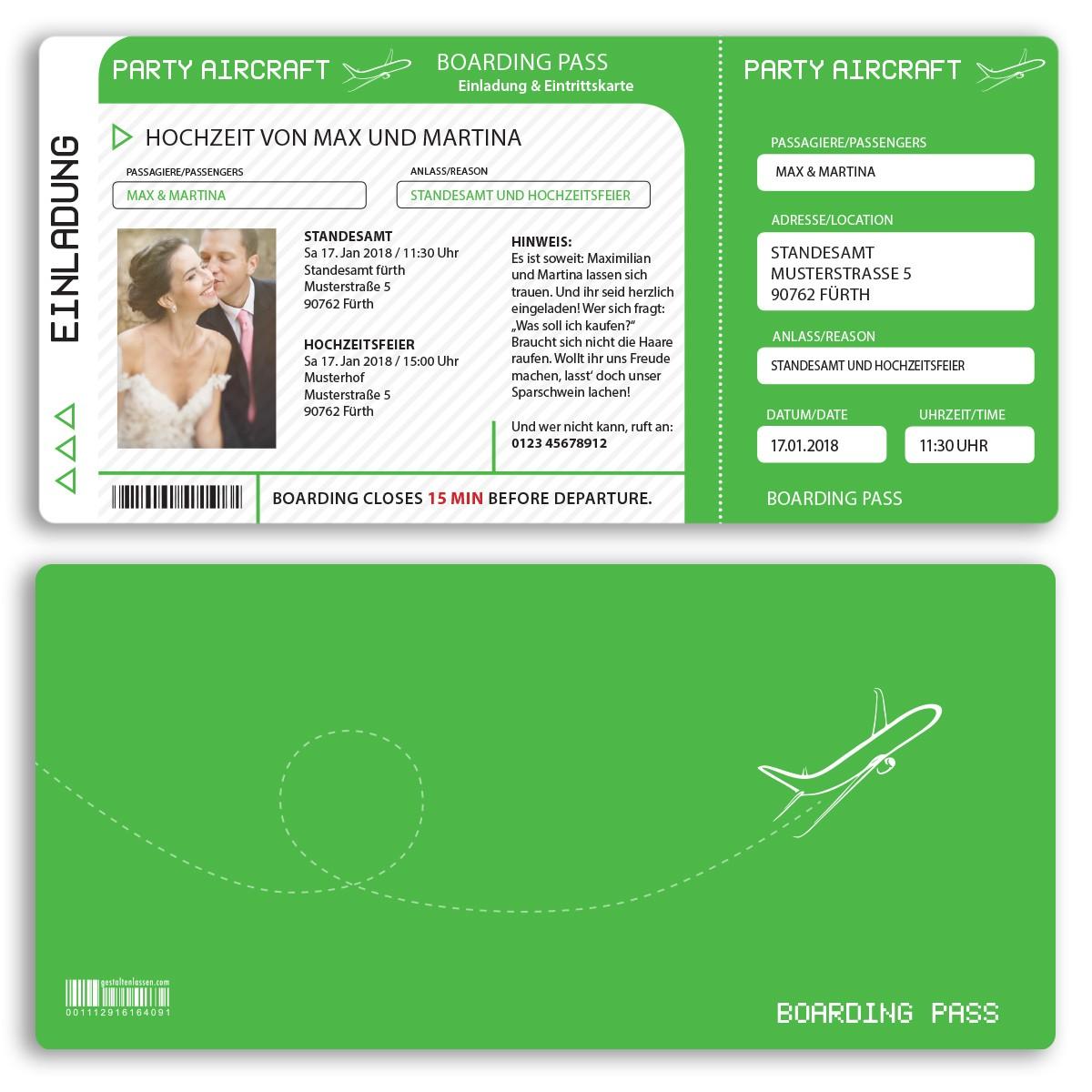 Hochzeitseinladungen als Flugticket in grün ab 55 Cent Einladung