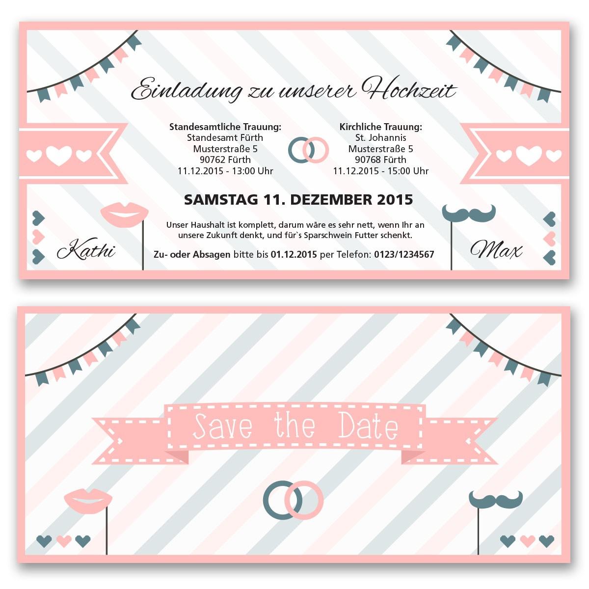 Hochzeitskarten Als Eintrittskarte Pink Ab 55 Cent Einladung