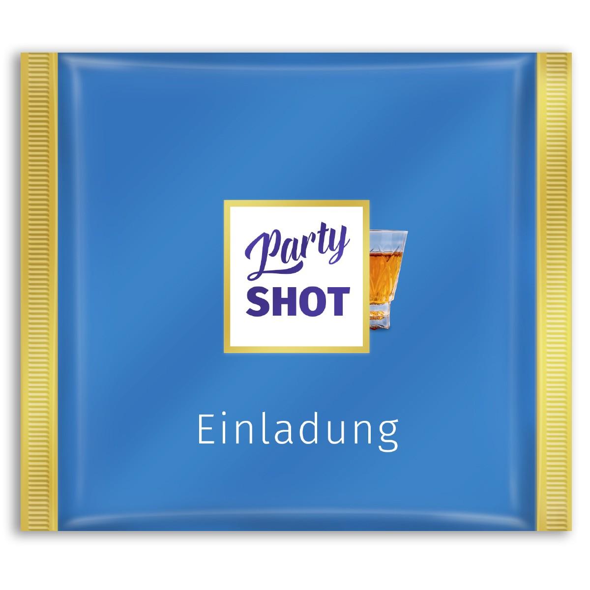 Einladungskarten als blaue Schokolade bestellen