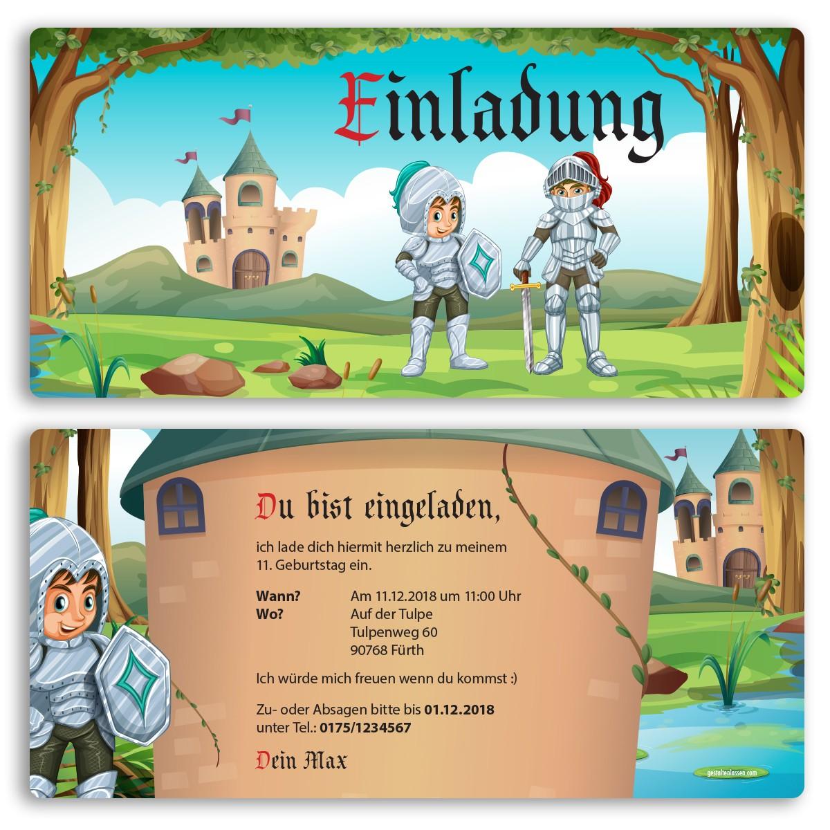 Einladungskarten im Ritter Design bestellen!
