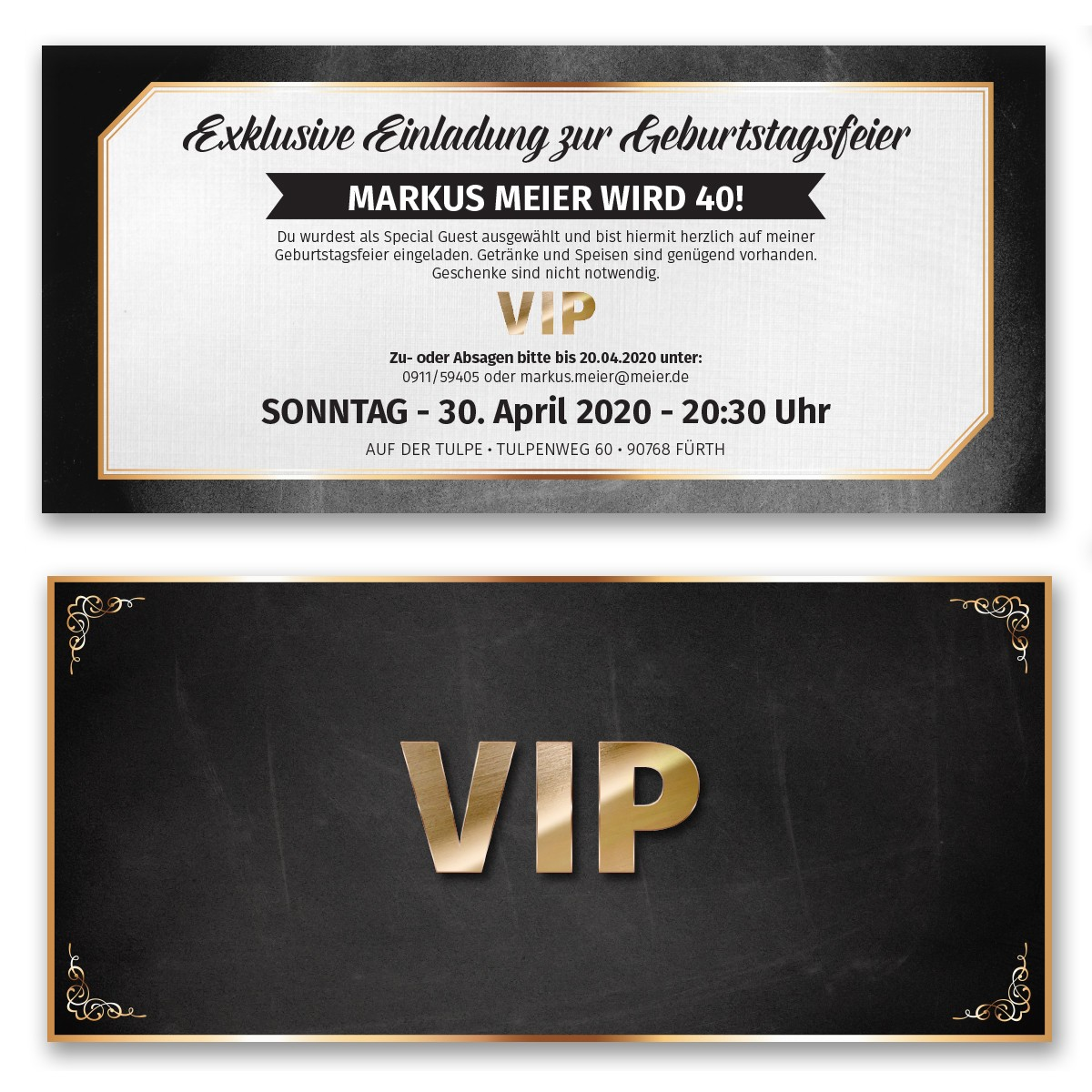Einladungskarten als VIP-Ticket bestellen