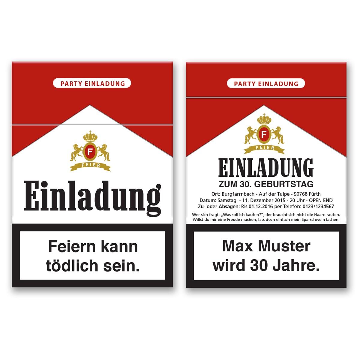 Einladungskarten als Zigarettenschachtel bestellen!