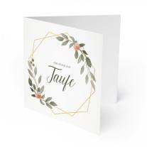 Einladungskarten zur Taufe - Gold Pflanzen