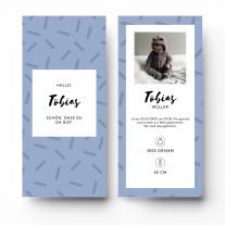 Geburtskarten - Striche Blau Junge