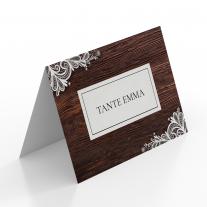 Tischkarten zur Hochzeit - Holz Spitze