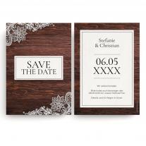 Save the Date Karten zur Hochzeit - Holz Spitze