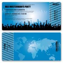 Einladungskarten als Eintrittskarte - Beats Blau