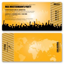 Einladungskarten als Eintrittskarte - Beats Orange
