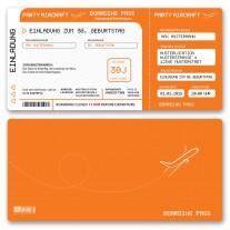 Einladungskarten als Flugticket - Orange