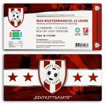 Einladungskarten als Fussballticket - Rot