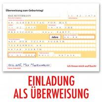 Einladungskarten als Überweisung