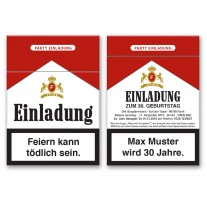 Einladungskarten als Zigarettenschachtel
