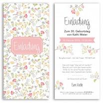 Einladungskarten - Blumen pink