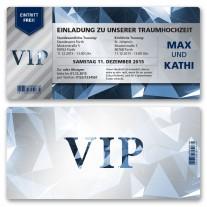 Hochzeitskarten als Eintrittskarte - VIP Blau