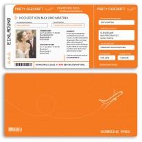 Hochzeitskarten als Flugticket - Orange