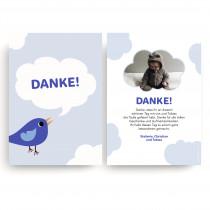 Dankeskarten Taufe - Vogel Blau