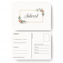 Antwortkarten Hochzeit - Gold Pflanzen