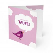 Einladungskarten zur Taufe - Vogel Rot