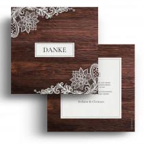 Hochzeit Dankeskarten - Holz Spitze
