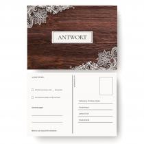 Antwortkarten Hochzeit - Holz Spitze