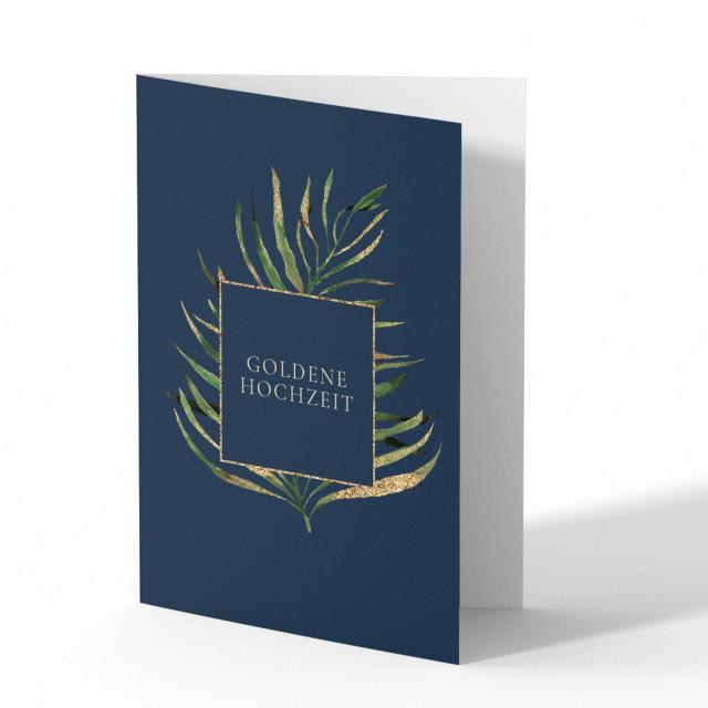 Einladungskarten Goldene Hochzeit - Goldener Farn