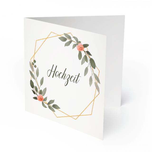 Einladungen zur Hochzeit - Gold Pflanzen