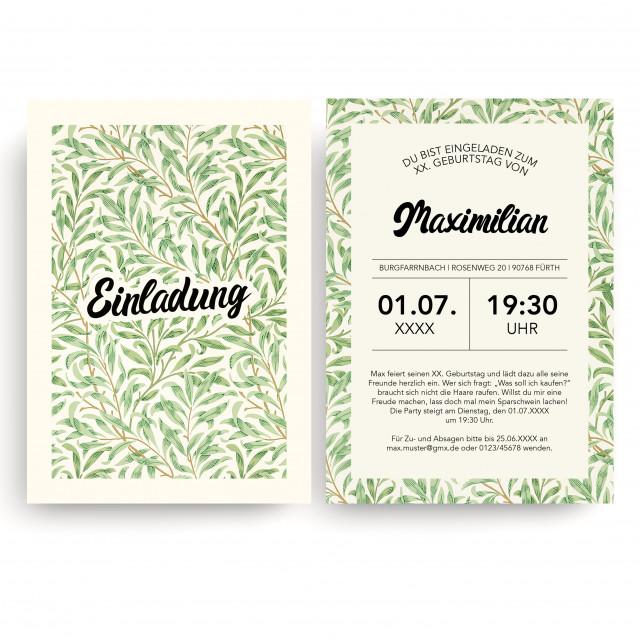 Geburtstagseinladung - Pflanzen Beige