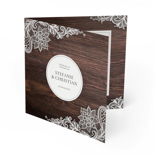 Hochzeitseinladungen - Rustikal mit weißer Spitze