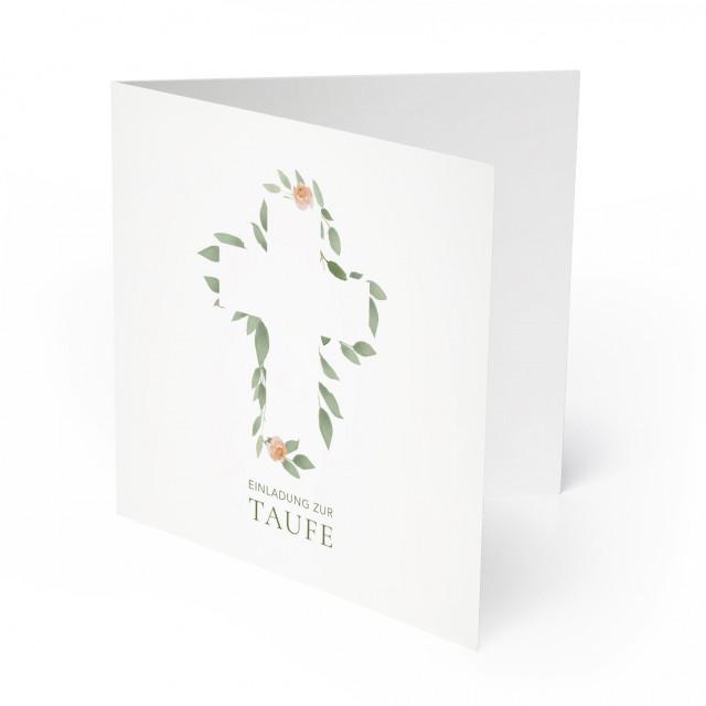 Einladungskarten zur Taufe - Wasserfarben Blumen