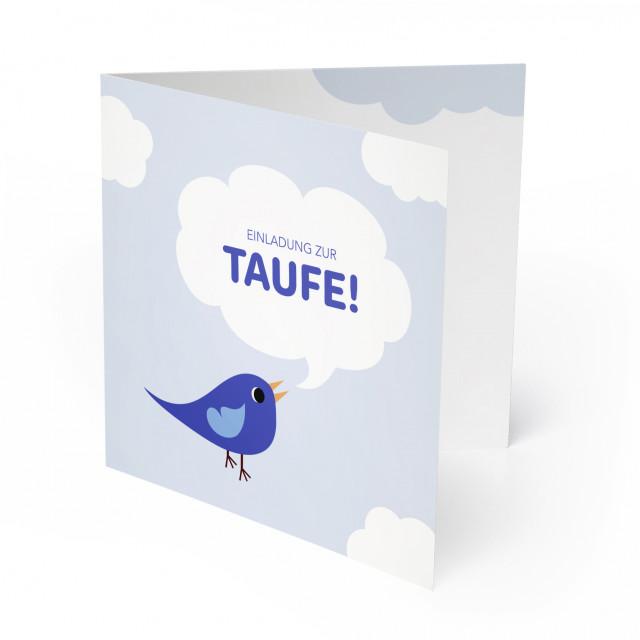 Einladungskarten zur Taufe - Vogel Blau