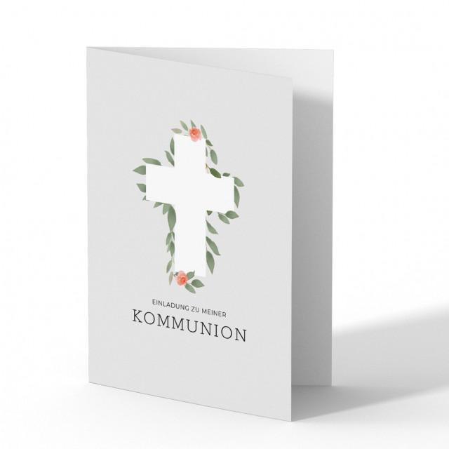 Kommunion Einladungskarten - Blumen Kreuz