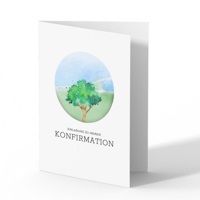 Konfirmation Einladungskarten - Baum