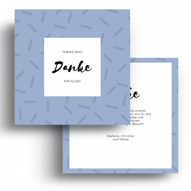 Geburtskarten Danksagungskarten - Striche Blau Junge